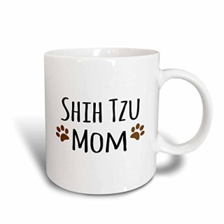 3dRose (mug_154196_2) Shih Tzu Dog Mom - Doggie by breed - muddy brown paw prints - doggy lover - proud pet owner mama - Ceramic Mug, 15-ounce