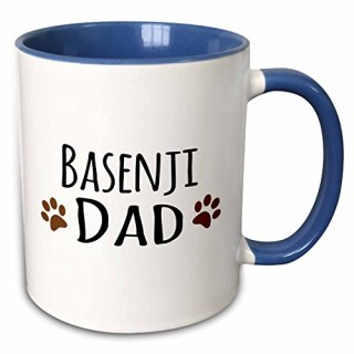 3dRose InspirationzStore Pet designs - Basenji Dog Dad - Doggie by breed - brown muddy paw prints - doggy lover love pet owner - 11oz Two-Tone Blue Mug (mug_153854_6)