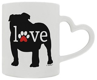 Bulldog Gifts Love Dog Paw Prints Dog Owner Gifts English Bulldog Heart Handle Gift Coffee Mug Tea Cup Heart Handle