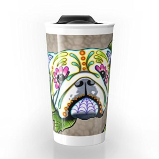 Society6 Day Of The Dead English Bulldog Sugar Skull Dog Travel Mug 12 oz