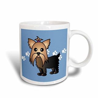 3dRose Cute Yorkshire Terrier Yorkie Blue with Paw Prints Mug, 11-Ounce