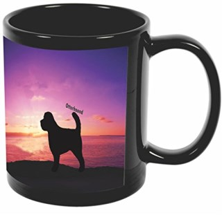 Rikki Knight Otterhound Dog at Sunset Design 11 oz Photo Quality BLACK Ceramic Coffee Mugs Cups - Dishwasher and Microwave Safe