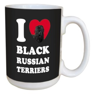 Tree Free Greetings LM45012 I Heart Black Russian Terriers Ceramic Mug with Full-Sized Handle, 15-Ounce