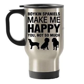 Boykin Spaniels Make Me Happy Stainless Steel Travel Insulated Tumblers Mug