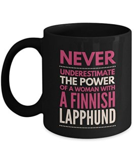 Never Underestimate The Power Of A Woman With A Finnish Lapphund Mug - Coffee Cup - Dog Lover Gifts and Accessories