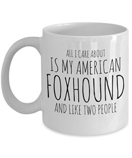 Funny American Foxhound Mug - All I Care About Is My American Foxhound And Like Two People - Cute American Foxhound Gift for Owner Lover Breeder - Unique Ceramic Coffee or Tea Cup