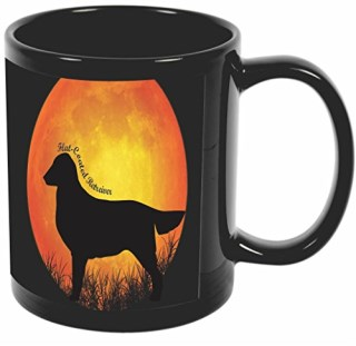 Rikki Knight Flat Coated Retriever Dog Silhouette By Moon Design 11 oz Photo Quality BLACK Ceramic Coffee Mugs Cups - Dishwasher and Microwave Safe