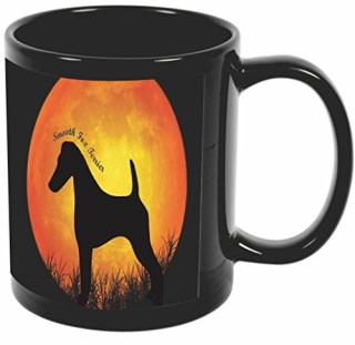Rikki Knight Smooth Fox Terrier Dog Silhouette By Moon Design 11 oz Photo Quality BLACK Ceramic Coffee Mugs Cups - Dishwasher and Microwave Safe