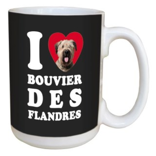 Tree Free Greetings LM45017 I Heart Bouvier des Flandres Ceramic Mug with Full-Sized Handle, 15-Ounce
