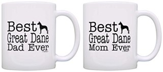 Dog Lover Gift Best Great Dane Mom Dad Ever Accessory Bundle 2 Pack Gift Coffee Mugs Tea Cups White