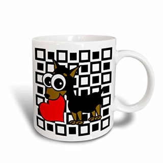 3dRose Miniature Pinscher Has My Heart Ceramic Mug, 15-Ounce