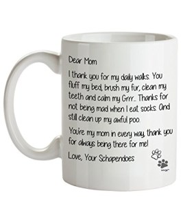 Schapendoes Mom Coffee Mug - Dear Mom - Dog Themed Gifts For Dog Lady, Mommy, Owner - Birthday, Christmas, Mother's Day - Novelty Cup By Whizk MDDME210