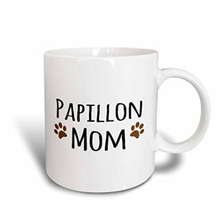 3dRose mug_154167_1 Papillon Dog Mom Doggie By Breed Muddy Brown Paw Prints Doggy Lover Proud Pet Owner Mama Love Ceramic Mug, 11-Ounce