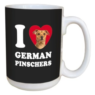 Tree Free Greetings LM45055 I Heart German Pinschers Ceramic Mug with Full-Sized Handle, 15-Ounce, Tan