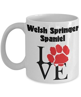 Perfect Dog Lover Gifts - Love Paws Red Mug (11 oz, Welsh Springer Spaniel)