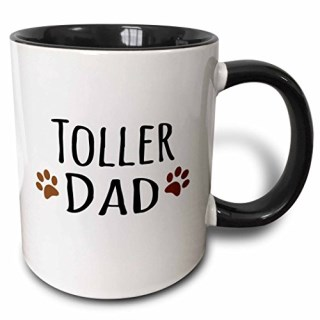 3dRose (mug_153997_4) Toller Dog Dad - Nova Scotia Duck Tolling Retriever - Doggie by breed - brown paw prints doggy love - Two Tone Black Mug, 11oz