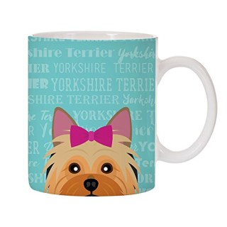 Adorable Dog Breed Specific 11oz Ceramic Coffee Mug (Yorkshire Terrier - Pink Bow)