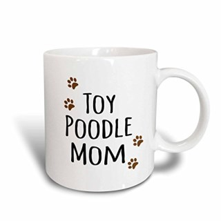 3dRose mug_154210_1 Toy Poodle Dog Mom Doggie By Breed Muddy Brown Paw Prints Doggy Lover Proud Mama Pet Owner Ceramic Mug, 11-Ounce