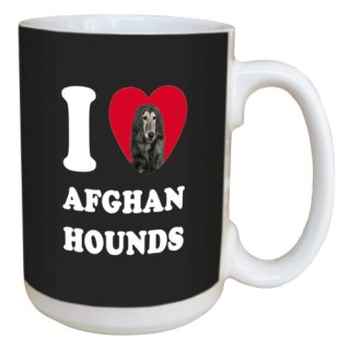 Tree Free Greetings LM45145 I Heart Afghan Hounds Ceramic Mug with Full-Sized Handle, 15-Ounce, Black