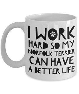 Norfolk Terrier Gifts - Norfolk Terrier Mugs - Norfolk Terrier Dog - I Work Hard So My Norfolk Terrier Can Have A Better Life
