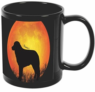 Rikki Knight Kuvasz Dog Silhouette By Moon Design 11 oz Photo Quality BLACK Ceramic Coffee Mugs Cups - Dishwasher and Microwave Safe