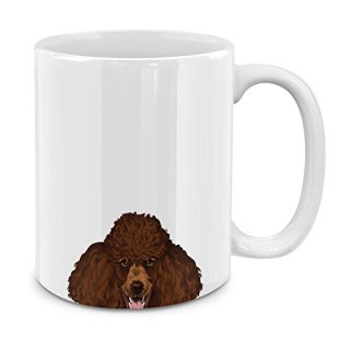 MUGBREW Brown Standard Poodle White Ceramic Coffee Mug Tea Cup, 11 OZ
