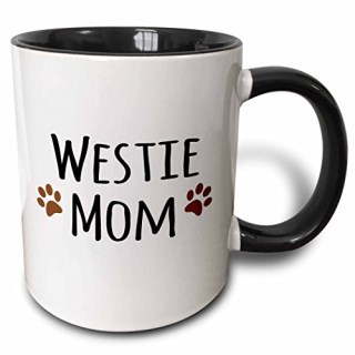 3dRose 3dRose Westie Dog Mom - West Highland White Terrier - Doggie by breed - doggy lover owner brown paw prints - Two Tone Black Mug, 11oz (mug_154215_4), , Black/White
