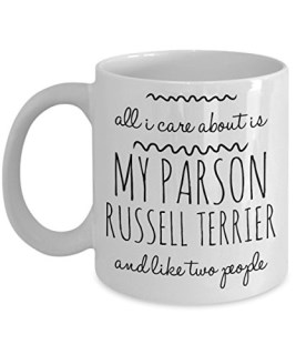 Parson Russell Terrier Mug - All I Care About Is My PRT And Like Two People - Parson Russell Terrier Lover Gift - Unique 11 oz Ceramic Coffee or Tea Cup for Parson Russell Terrier Mom