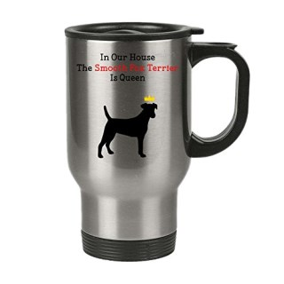 Dog Mug Insulated Travel Mug with Lid - The Smooth Fox Terrier is Queen - Funny, Novelty, Gift ideas for Pet Dog Mom and Dad, Perfect Christmas or Birthday present - 14oz Mug - DesignsByK