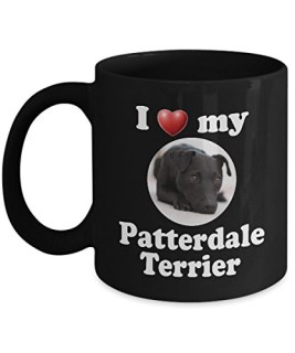 I Love My Patterdale Terrier: Black Ceramic Coffee Mug