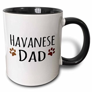 3dRose mug_153923_4 Havanese Dog Dad Doggie by Breed Brown Muddy Paw Prints Doggy Lover Proud Pet Owner Love Two Tone Black Mug, 11 oz, Black/White