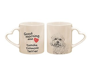 Dandie Dinmont Terrier, mug with a dog, cup, ceramic, new collection, heart handle