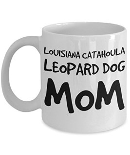 Louisiana Catahoula Leopard Dog Mom Mug - White 11oz Ceramic Tea Coffee Cup - Perfect For Travel And Gifts