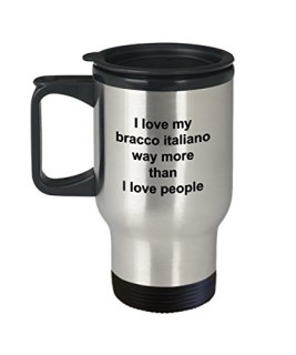 Bracco Italiano Mug - Bracco Italiano Lover Gift - I Love My Dog More Than People - Funny Pet Dog Insulated Tumbler Travel Coffee Cup Accessories