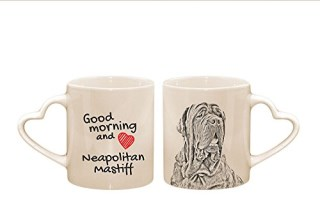 Neapolitan Mastiff, mug with a dog, cup, ceramic, new collection, heart handle