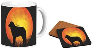 Rikki Knight Kuvasz Dog Silhouette By Moon Design 11 oz Photo Quality Ceramic Coffee Mug with a Matching Square Coaster Combo