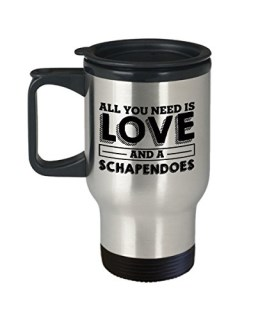 Funny Schapendoes 14oz Insulated Travel Mug - Love Dog - Unique Tumbler Gift For Men and Women Pet Lovers