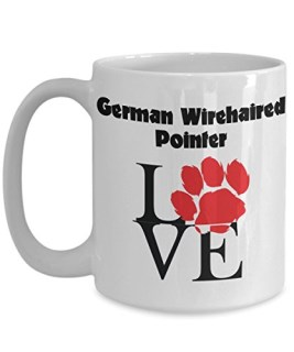 Perfect Dog Lover Gifts - Love Paws Red Mug (15 oz, German Wirehaired Pointer)