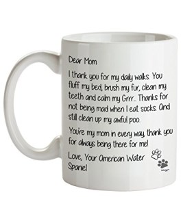 American Water Spaniel Mom Coffee Mug - Dear Mom - Dog Themed Gifts For Dog Lady, Mommy, Owner - Birthday, Christmas, Mother's Day - Novelty Cup By Whizk MDDME064