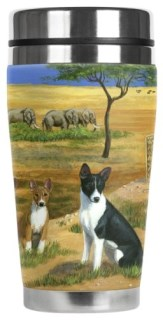 Gone Doggin Basenji Travel Mug #3 - 16-Ounce Stainless Steel Mug with Insulated Artwork Cover