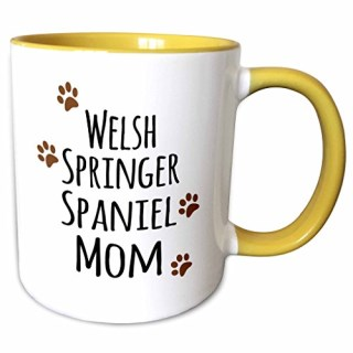 3dRose InspirationzStore Pet designs - Welsh Springer Spaniel Dog Mom - Doggie by breed - brown paw prints doggy lover pet owner mama love - 11oz Two-Tone Yellow Mug (mug_154213_8)