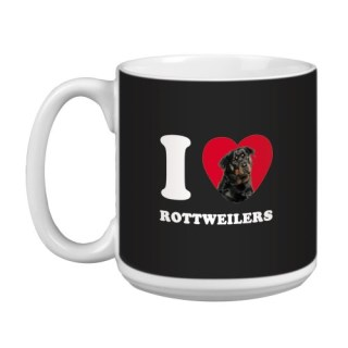 Tree Free Greetings XM29110 I Heart Rottweilers Artful Jumbo Mug, 20-Ounce
