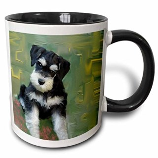"3dRose mug_4158_4 ""Miniature Schnauzer Two Tone black"" Mug, 11 oz, Black/White"