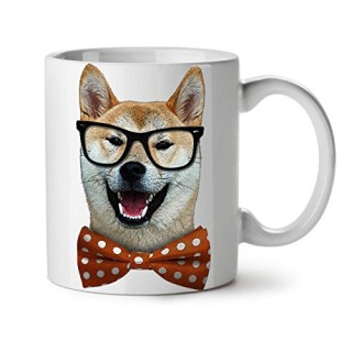 Smart Shiba Inu Dog Sharp Look White Tea Coffee Ceramic Mug 11 oz | Wellcoda
