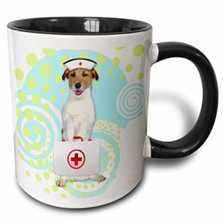 3dRose Jack Russell Terrier Dog in A Nurses Cap with First Aide Kit Two Tone Black Mug, 11 oz, Black/White