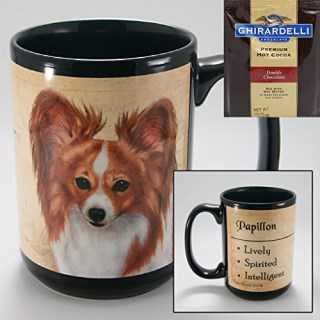 Papillon 15-oz Coffee Mug with 1 Pack of Ghirardelli Double Chocolate Hot Cocoa