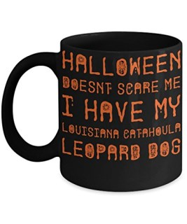 Halloween Louisiana Catahoula Leopard Dog Mug - White 11oz Ceramic Tea Coffee Cup - Perfect For Travel And Gifts