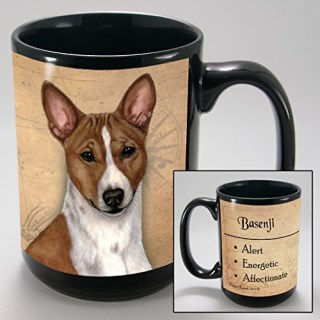 Dog Breeds (A-K) Basenji, Red and White 15-oz Coffee Mug Bundle with Non-Negotiable K-Nine Cash by Imprints Plus (012)