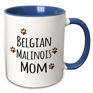 3dRose InspirationzStore Pet designs - Belgian Malinois Dog Mom - doggie by breed - brown muddy paw prints - doggy lover - proud pet owner - 11oz Two-Tone Blue Mug (mug_154070_6)
