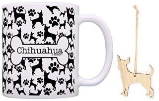 Chihuahua Christmas Ornament & Chihuahua Coffee Mug Tea Cup Bundle Dog Lover Stocking Stuffer